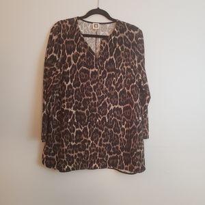 Anne Klein Leopard Print Top - XL